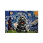 Starry Night / Black Cocke Rectangle Magnet (10 pa