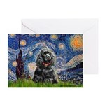 Starry Night / Black Cocke Greeting Card