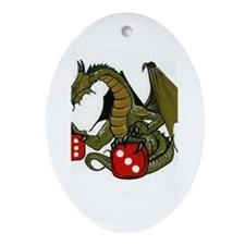 Dice and Dragons Oval Ornament