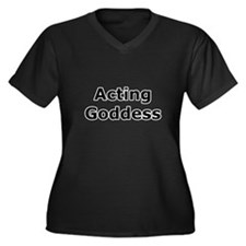 Acting Goddess Women's Plus Size V-Neck Dark T-Shi