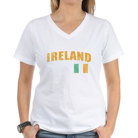 Vintage Ireland Soccer Womens V-Neck T-Shirt