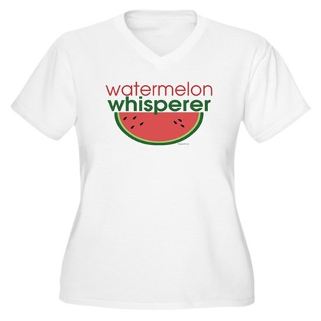 Watermelon Whisperer Women's Plus Size V-Neck T-Sh
