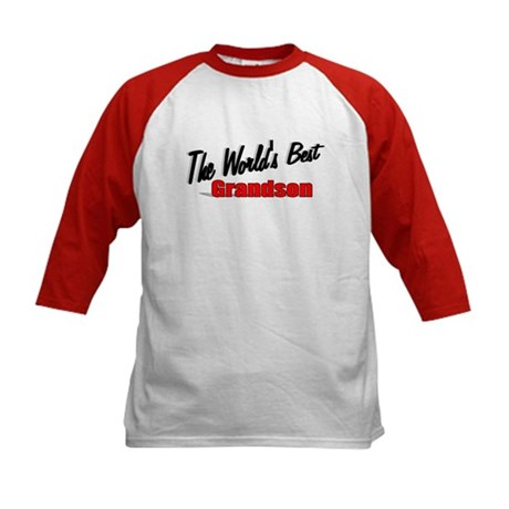 """The World's Best Grandson"" Kids Baseball Jersey"