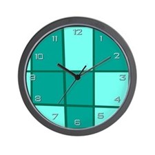 Aqua Grid Wall Clock