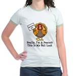 No Turkey Here Thanksgiving Jr. Ringer T-Shirt