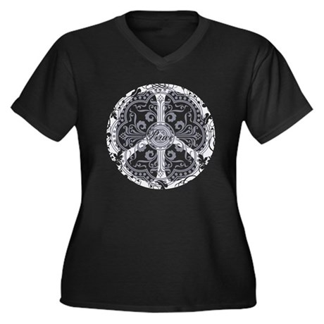 Blue Funky Peace Sign Women's Plus Size V-Neck Dar