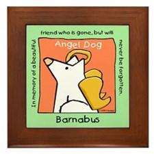White Angel Dog Memorial-Barnabus Framed Tile