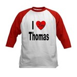 I Love Thomas (Front) Kids Baseball Jersey