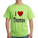 I Love Thomas (Front) Green T-Shirt
