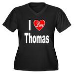 I Love Thomas (Front) Women's Plus Size V-Neck Dar