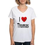 I Love Thomas (Front) Women's V-Neck T-Shirt
