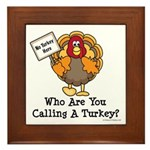 No Turkey Here Thanksgiving Framed Tile