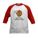 No Turkey Here Thanksgiving Kids Baseball Jersey