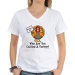No Turkey Here Thanksgiving Women's V-Neck T-Shirt