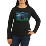 Lilies (5)/Cocker (Blk) Women's Long Sleeve Dark T