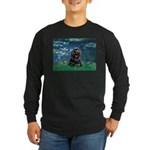 Lilies (5)/Cocker (Blk) Long Sleeve Dark T-Shirt