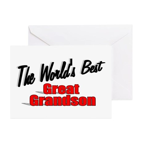 &quot;The World's Best Great Grandson&quot; Greeting Cards (