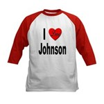 I Love Johnson (Front) Kids Baseball Jersey