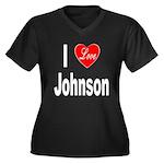 I Love Johnson (Front) Women's Plus Size V-Neck Da
