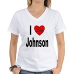 I Love Johnson (Front) Women's V-Neck T-Shirt