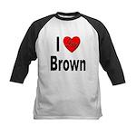 I Love Brown Kids Baseball Jersey