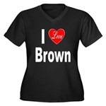I Love Brown (Front) Women's Plus Size V-Neck Dark