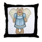 Blue Bear Angel Throw Pillow
