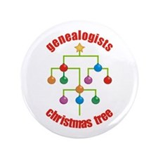 "Genealogists Christmas Tree 3.5"" Button"