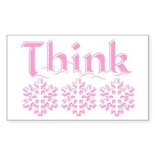 Think Snow Pink Rectangle Decal