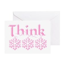 Think Snow Pink Greeting Card