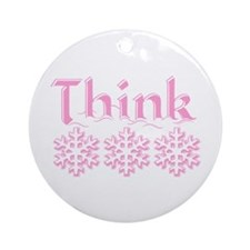 Think Snow Pink Christmas Ornament (Round)