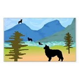 Wild Mountain Border Collies Rectangle Decal