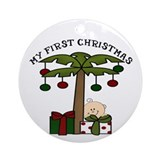 First Christmas Ornament Palm Tree Baby (Round)
