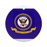 Navy Flag Ornament (Round)