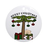 Palm Tree Merry Chirstmas Ornament (Round)