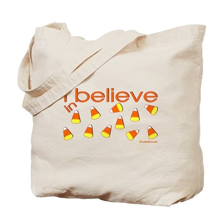 I believe in Candy Corn Tote Bag