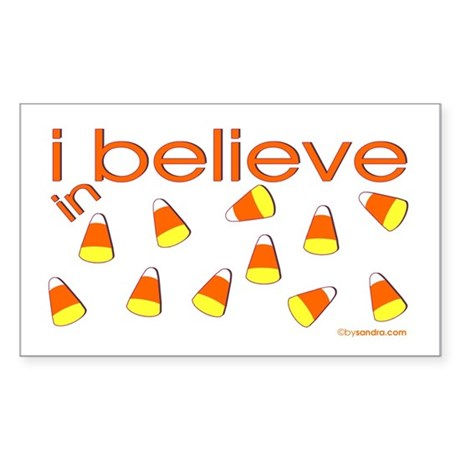 I believe in Candy Corn Rectangle Sticker