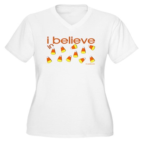 I believe in Candy Corn Women's Plus Size V-Neck T