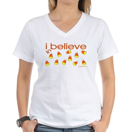 I believe in Candy Corn Women's V-Neck T-Shirt
