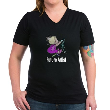 Future Artist Women's V-Neck Dark T-Shirt