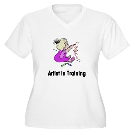 Artist in Training Women's Plus Size V-Neck T-Shir