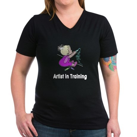 Artist in Training Women's V-Neck Dark T-Shirt