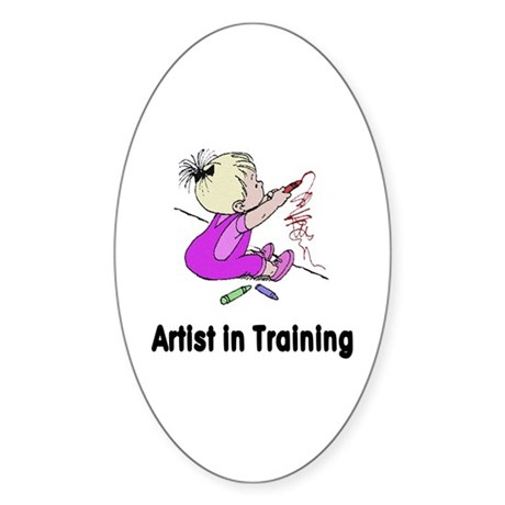 Artist in Training Oval Sticker