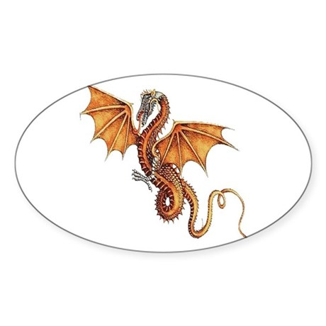 Fantasy Dragon Oval Sticker