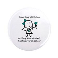 "Teal Ribbon - Hero Mom 3.5"" Button"