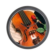 Violin Rose Wall Clock