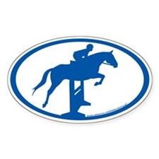 Hunter Jumper Over Fences (blue) Oval Decal