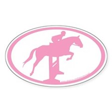Hunter Jumper Over Fences (pink) Oval Decal