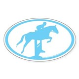 Hunter Jumper Over Fences (lt blue) Oval Decal