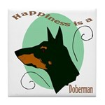 Happiness is doberman Tile Coaster